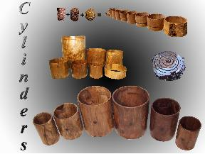 Heartwood Drums cuts concentric cylinders from solid logs to create sets of solid hollowed wood cylinders to make drum sets, snare drums, Taiko drums, cylindrical furniture, wine barrels, speaker boxes, amplifiers, display barrels, etc.